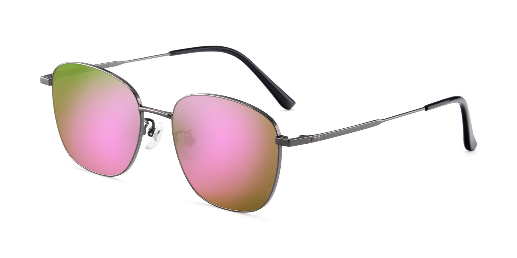 Angle of Tim in Gunmental with Pink Mirrored Lenses