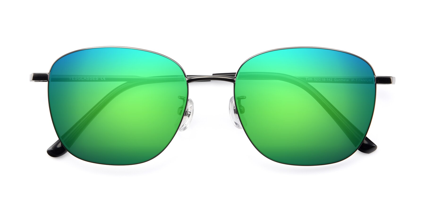 Folded Front of Tim in Gunmental with Green Mirrored Lenses