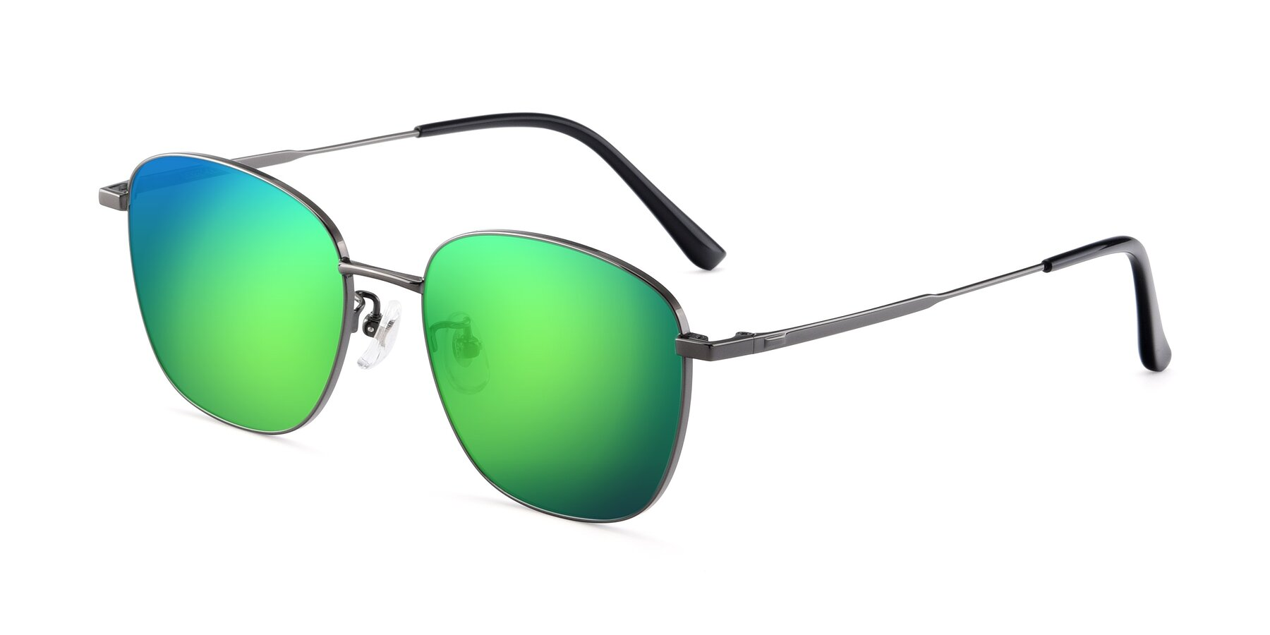 Angle of Tim in Gunmental with Green Mirrored Lenses