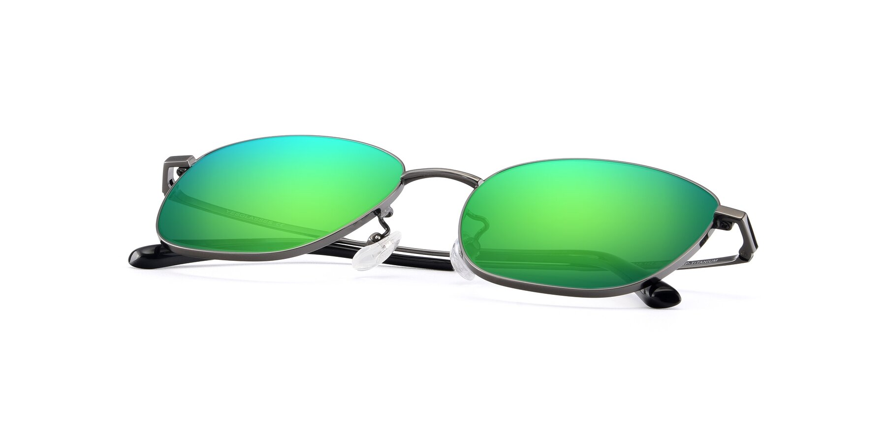 View of Tim in Gunmental with Green Mirrored Lenses