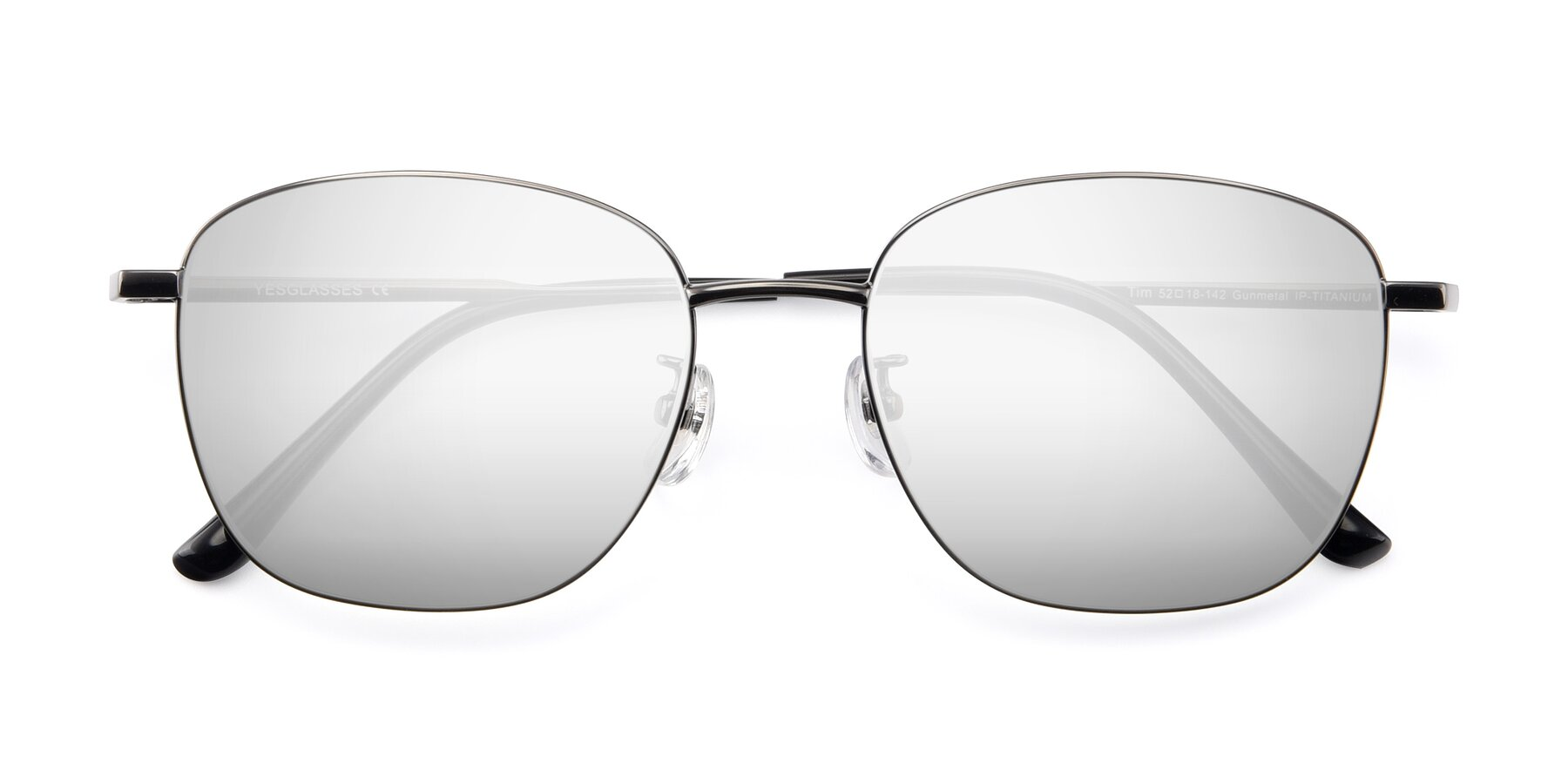Folded Front of Tim in Gunmental with Silver Mirrored Lenses