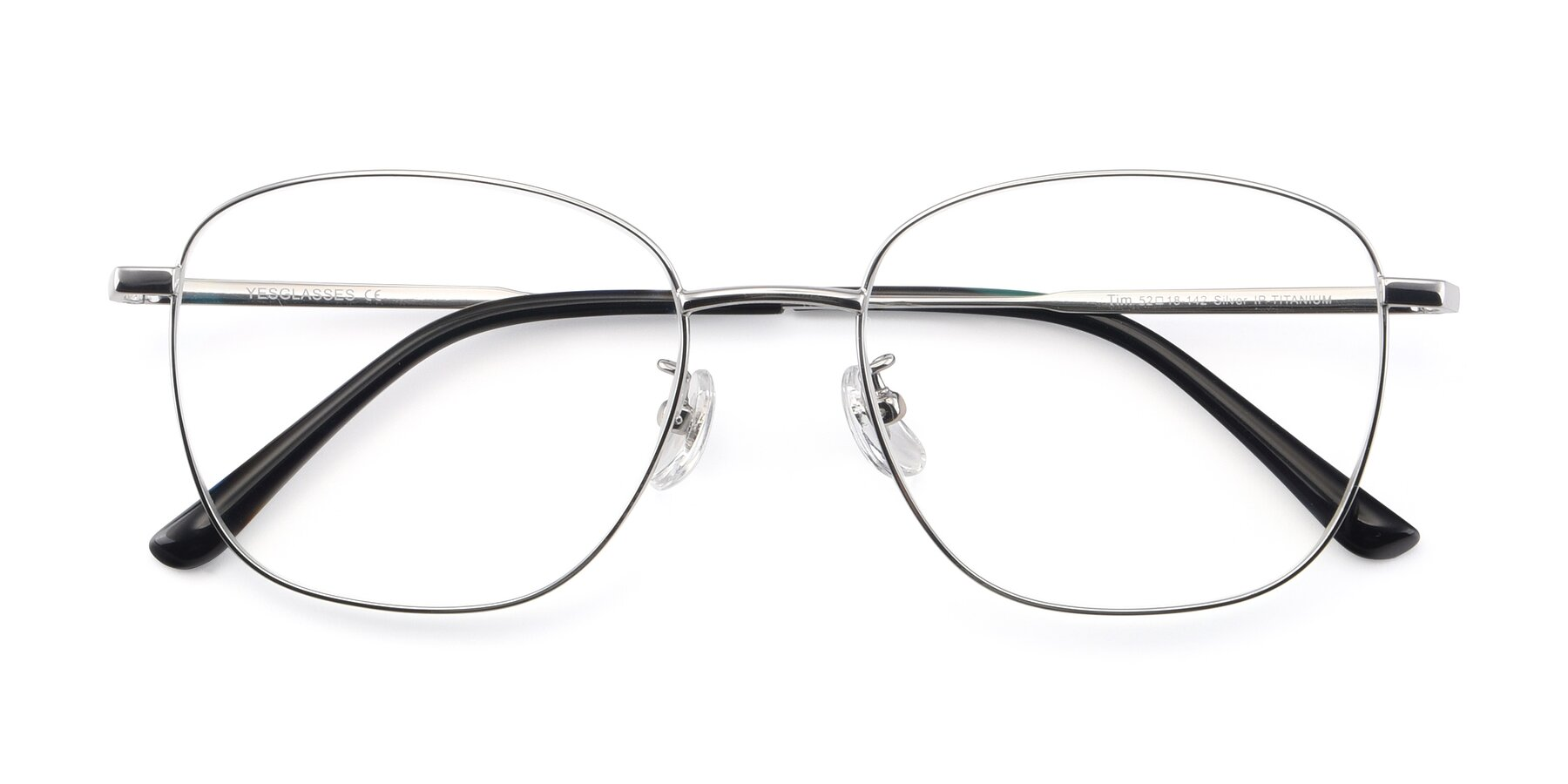 Folded Front of Tim in Silver with Clear Eyeglass Lenses