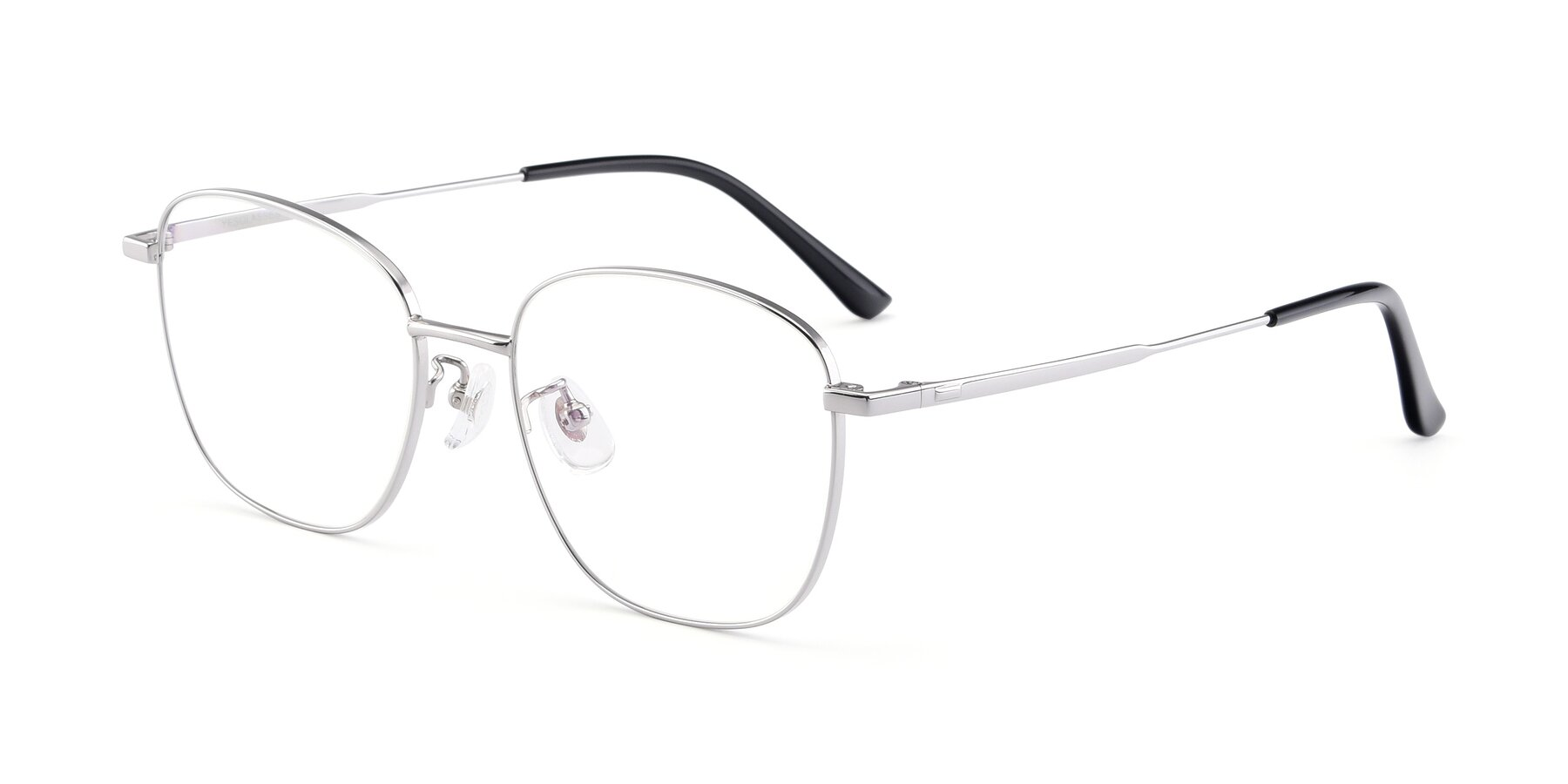 Angle of Tim in Silver with Clear Eyeglass Lenses
