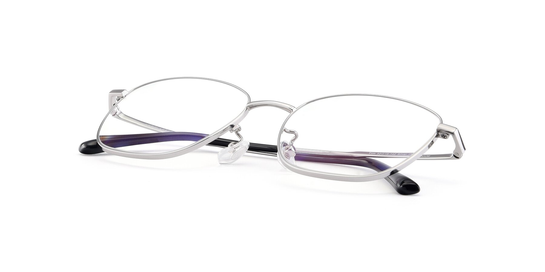 View of Tim in Silver with Clear Eyeglass Lenses