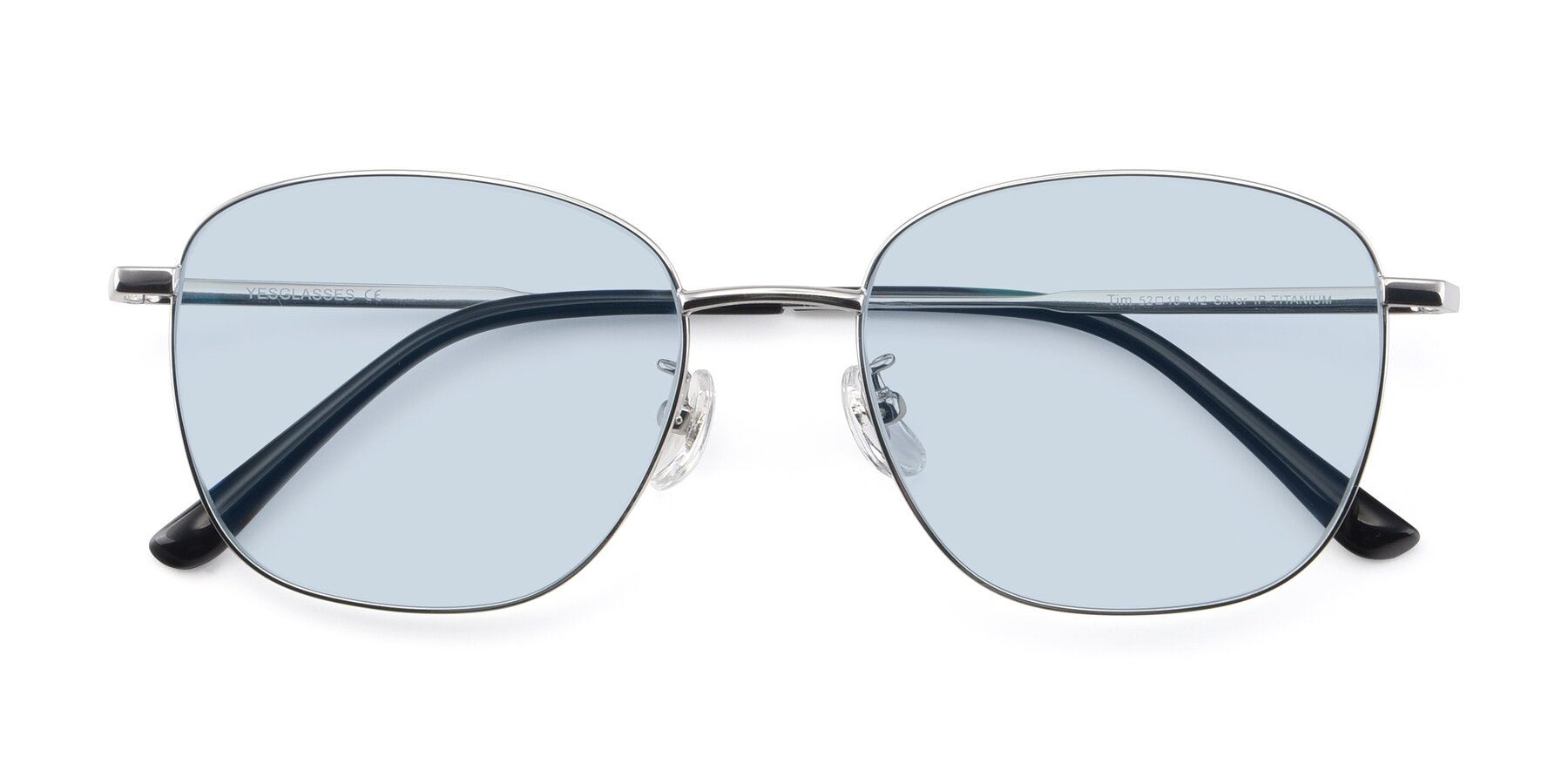 Folded Front of Tim in Silver with Light Blue Tinted Lenses