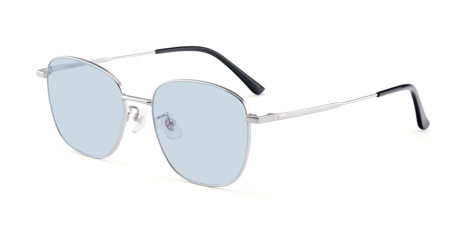 Angle of Tim in Silver with Light Blue Tinted Lenses