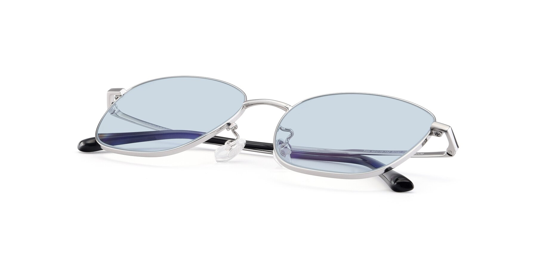 View of Tim in Silver with Light Blue Tinted Lenses