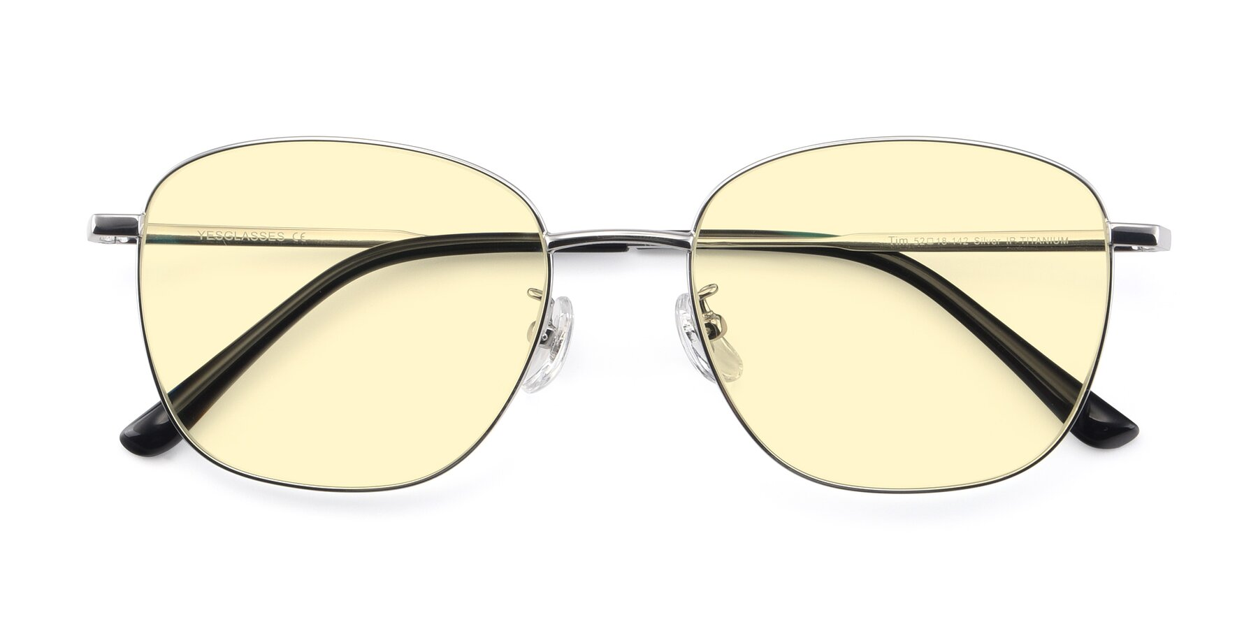 Folded Front of Tim in Silver with Light Yellow Tinted Lenses