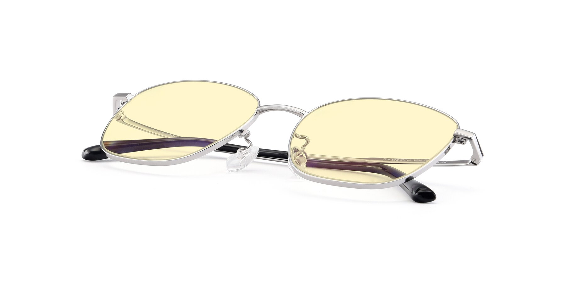 View of Tim in Silver with Light Yellow Tinted Lenses