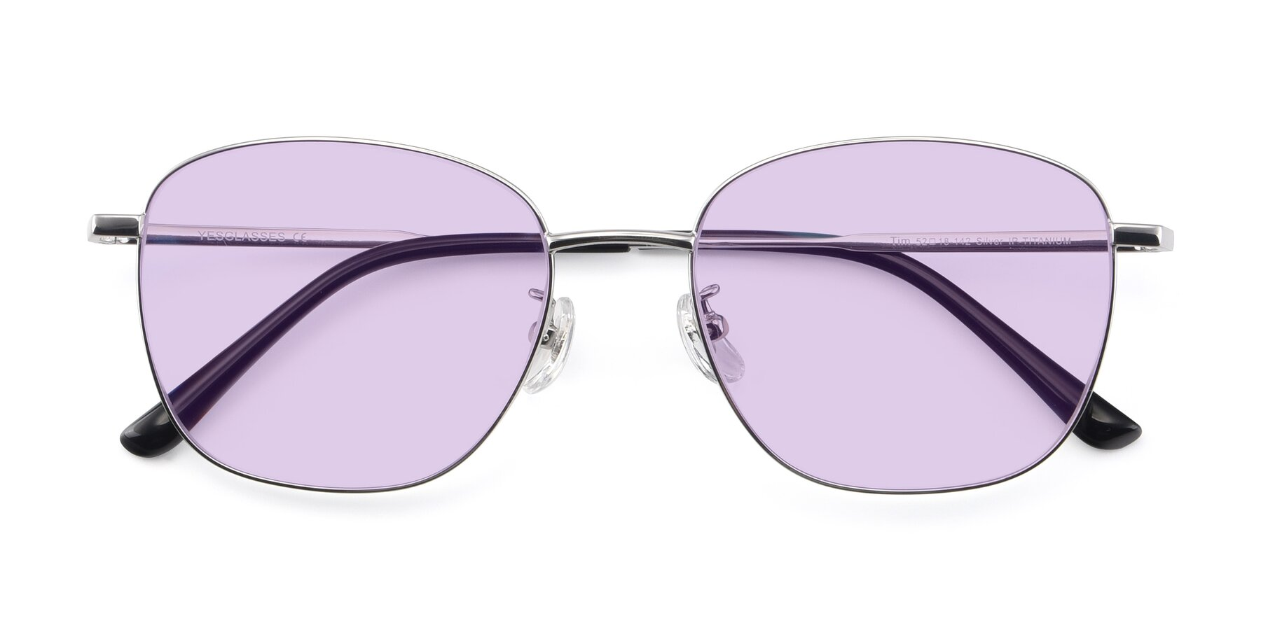 Folded Front of Tim in Silver with Light Purple Tinted Lenses
