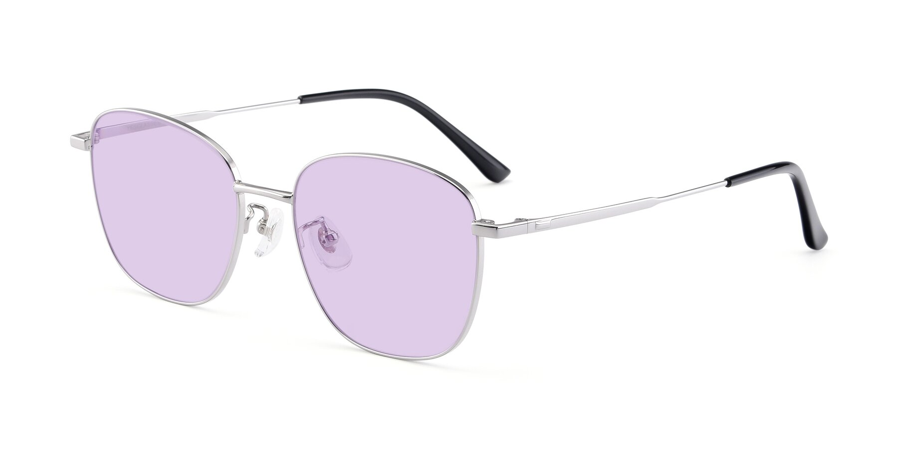 Angle of Tim in Silver with Light Purple Tinted Lenses