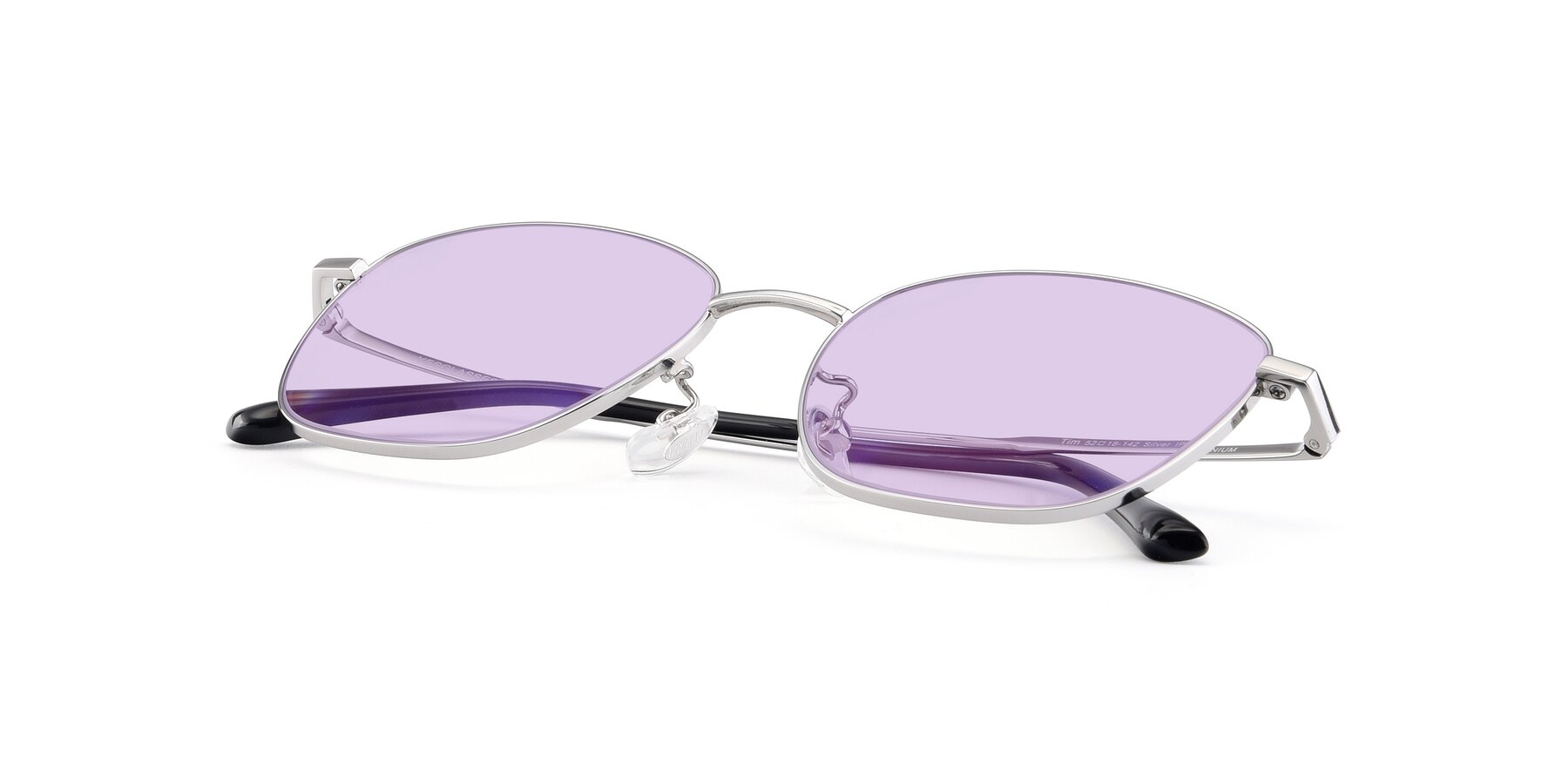 View of Tim in Silver with Light Purple Tinted Lenses