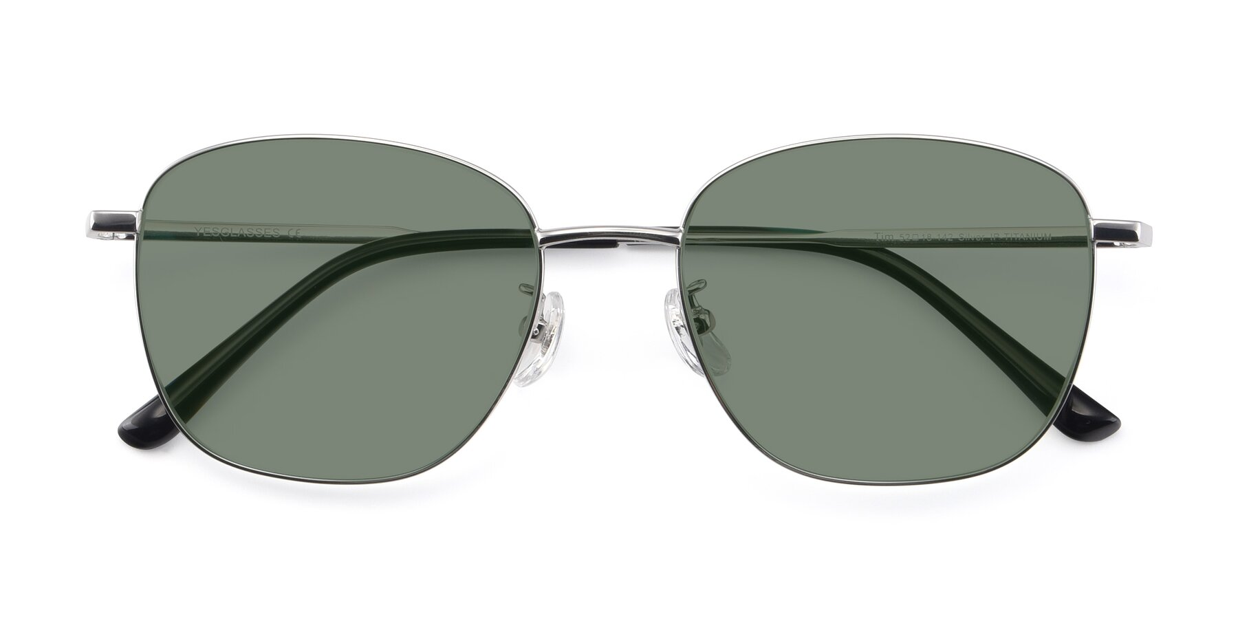 Folded Front of Tim in Silver with Medium Green Tinted Lenses