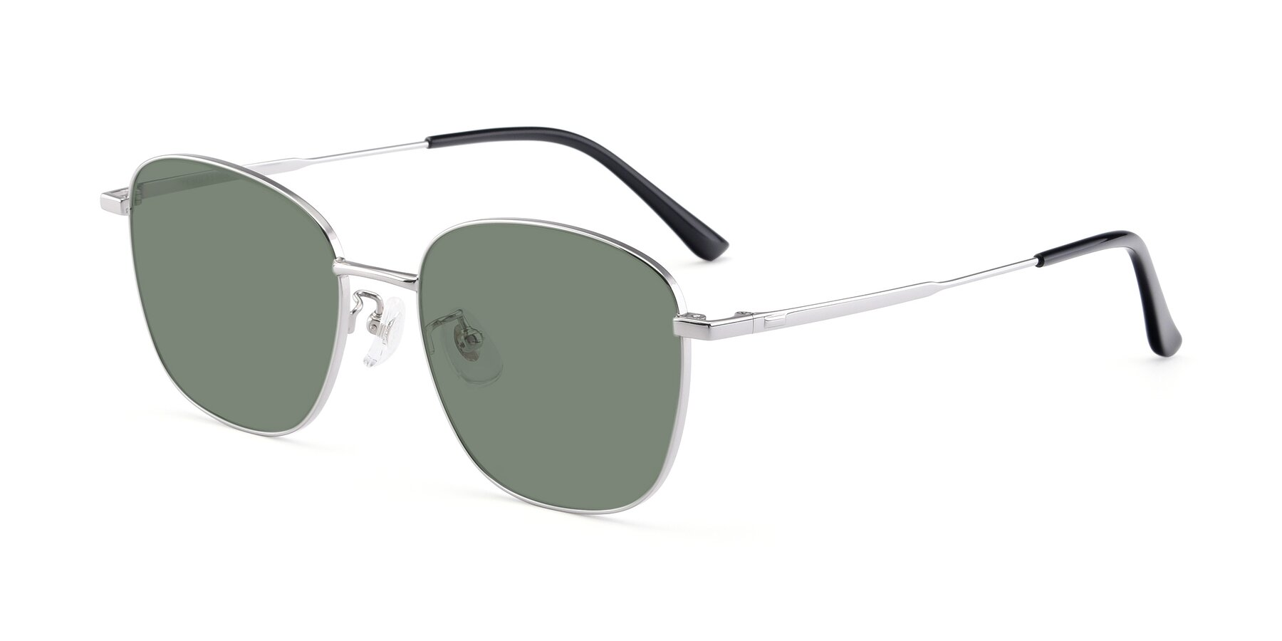 Angle of Tim in Silver with Medium Green Tinted Lenses