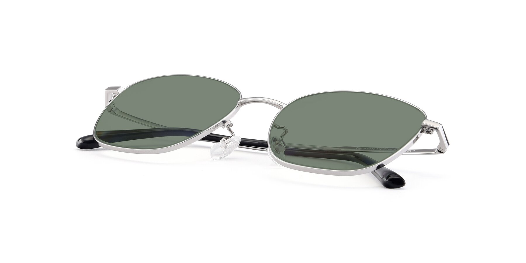 View of Tim in Silver with Medium Green Tinted Lenses