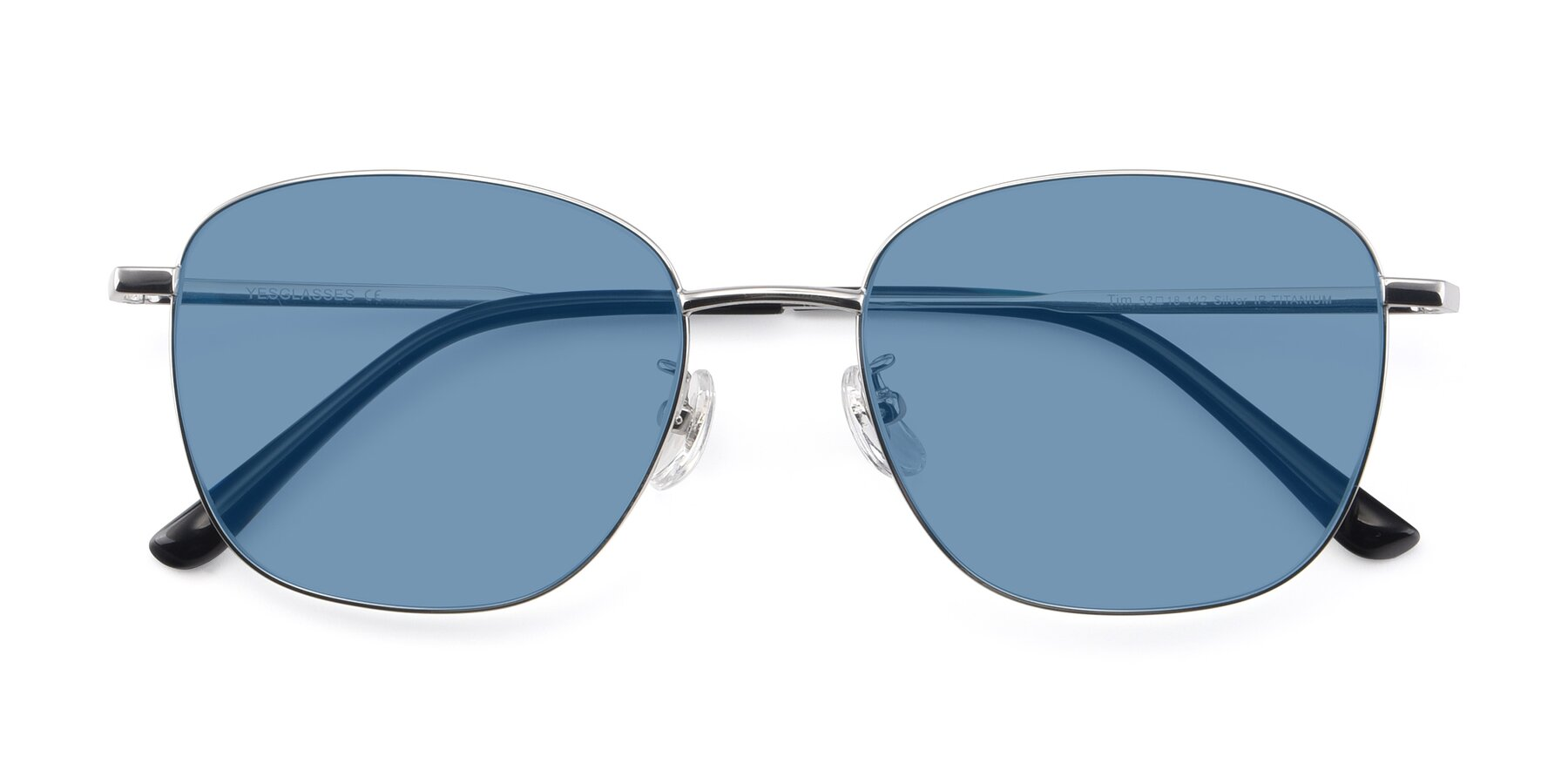 Folded Front of Tim in Silver with Medium Blue Tinted Lenses