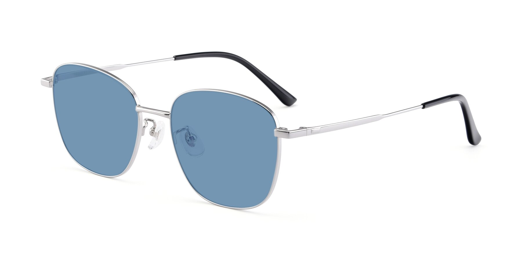 Angle of Tim in Silver with Medium Blue Tinted Lenses