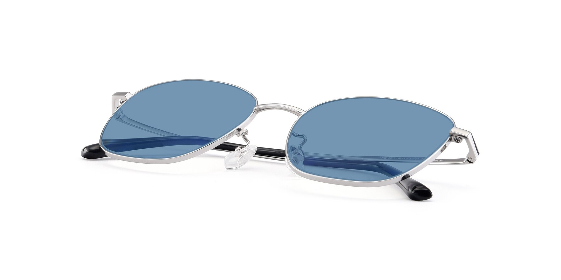 View of Tim in Silver with Medium Blue Tinted Lenses