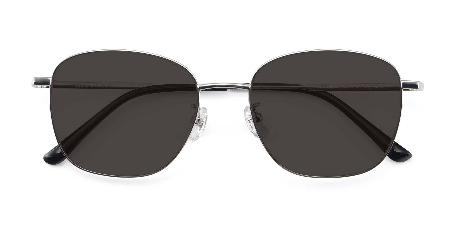 Folded Front of Tim in Silver with Gray Tinted Lenses