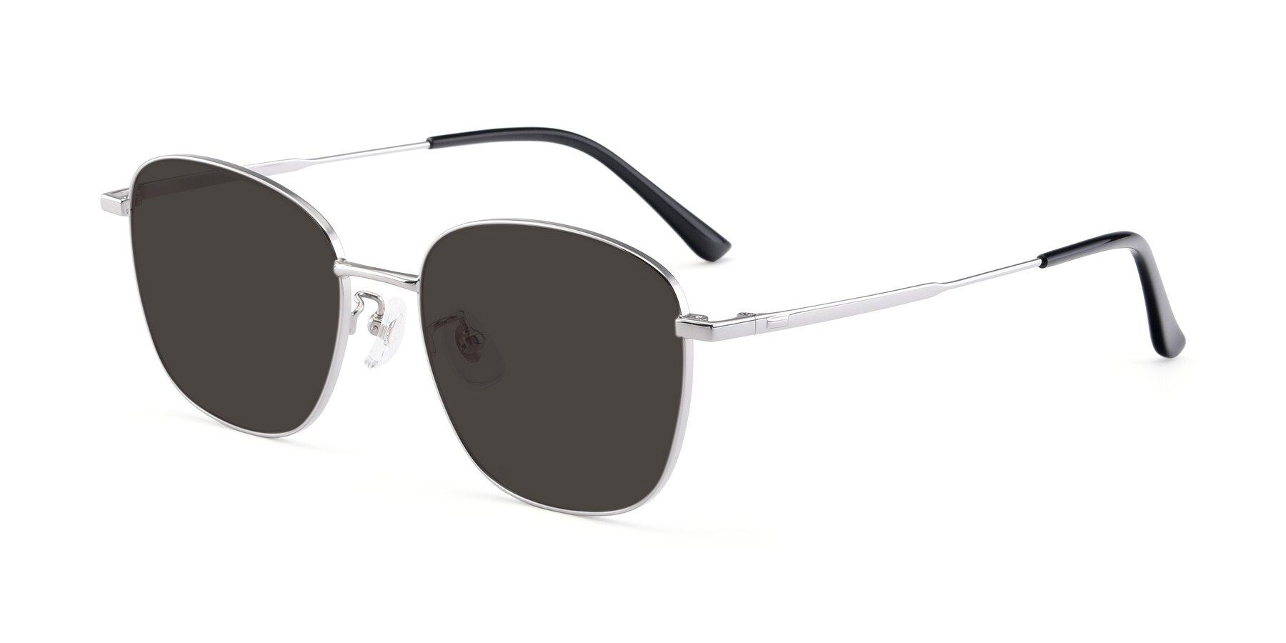 Angle of Tim in Silver with Gray Tinted Lenses