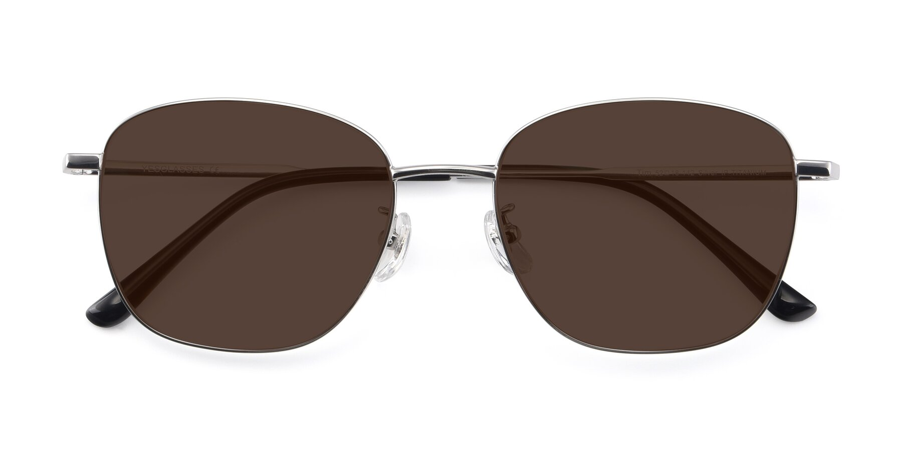 Folded Front of Tim in Silver with Brown Tinted Lenses
