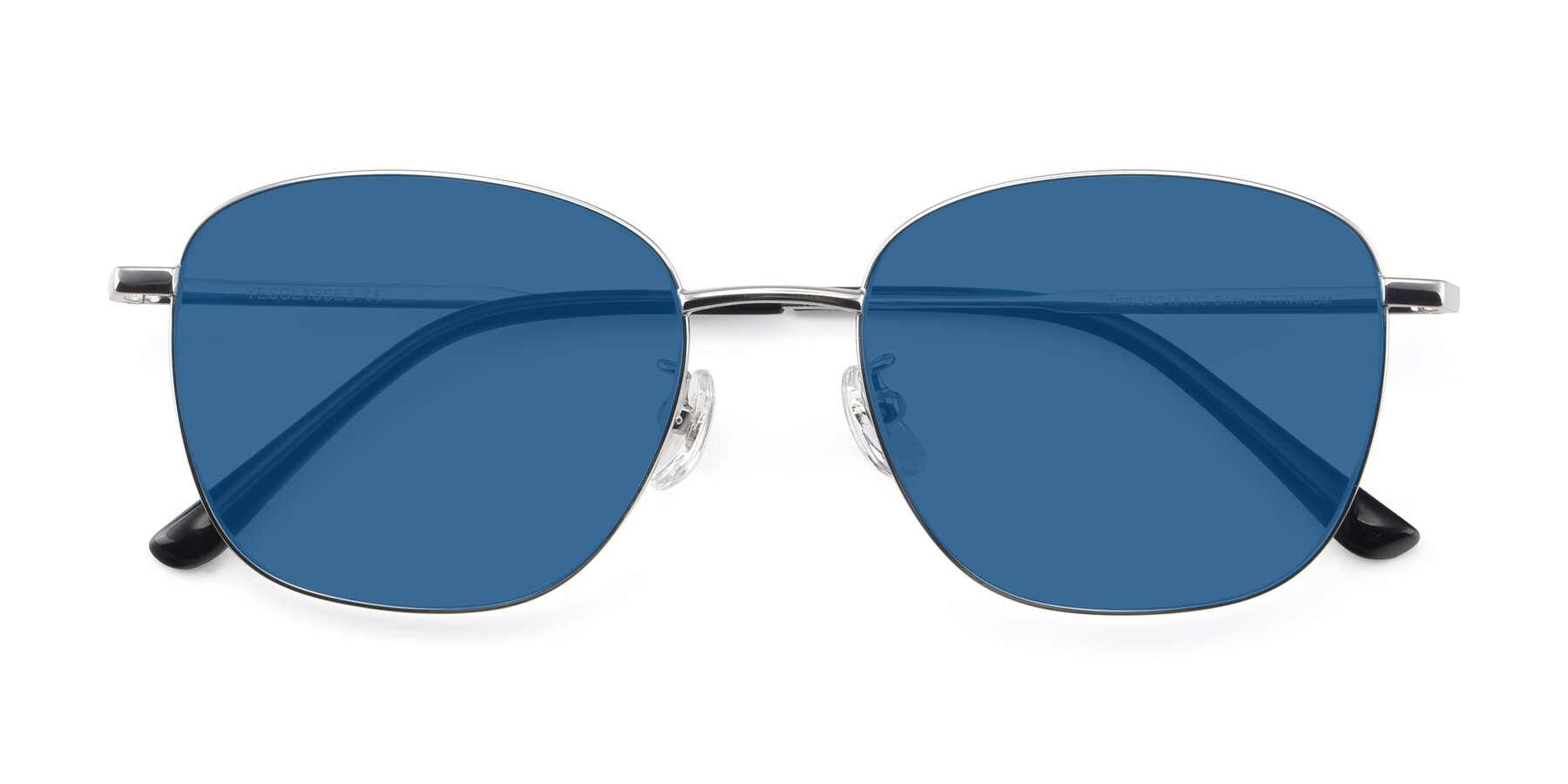 Folded Front of Tim in Silver with Blue Tinted Lenses