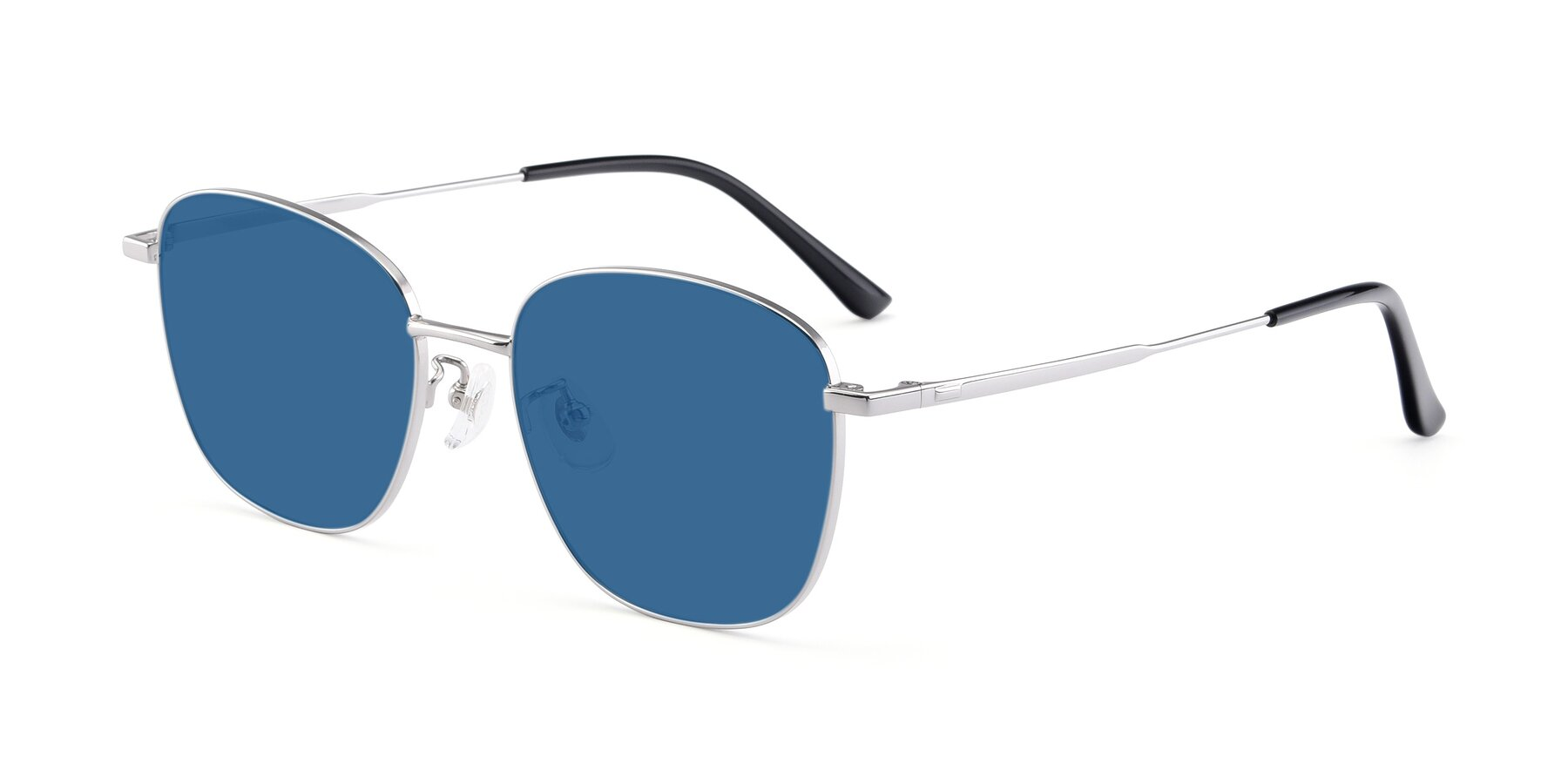 Angle of Tim in Silver with Blue Tinted Lenses
