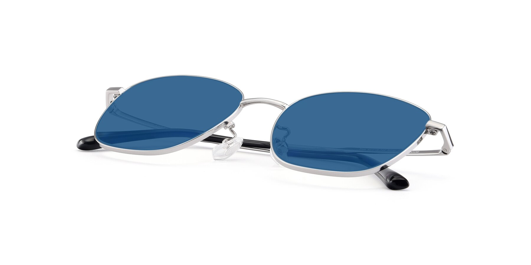 View of Tim in Silver with Blue Tinted Lenses
