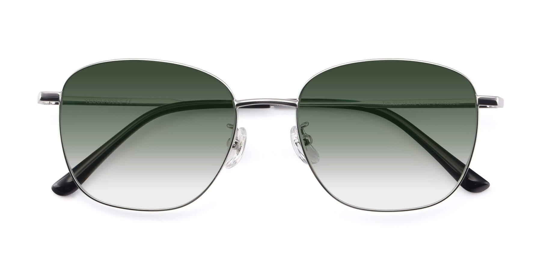 Folded Front of Tim in Silver with Green Gradient Lenses