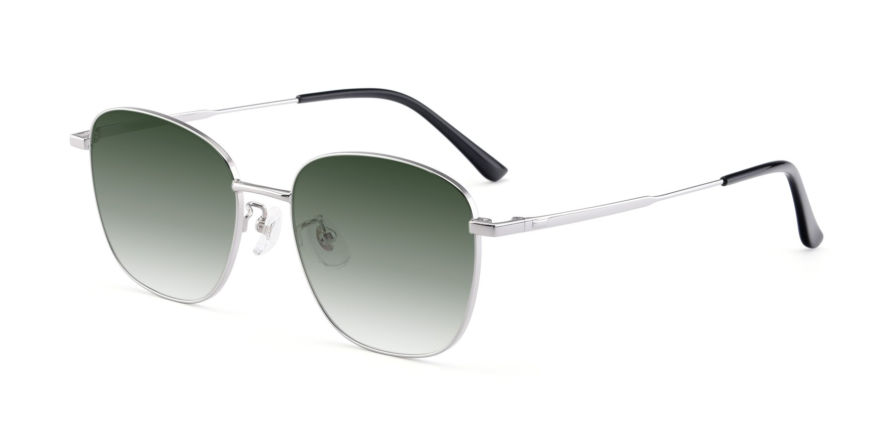 Angle of Tim in Silver with Green Gradient Lenses