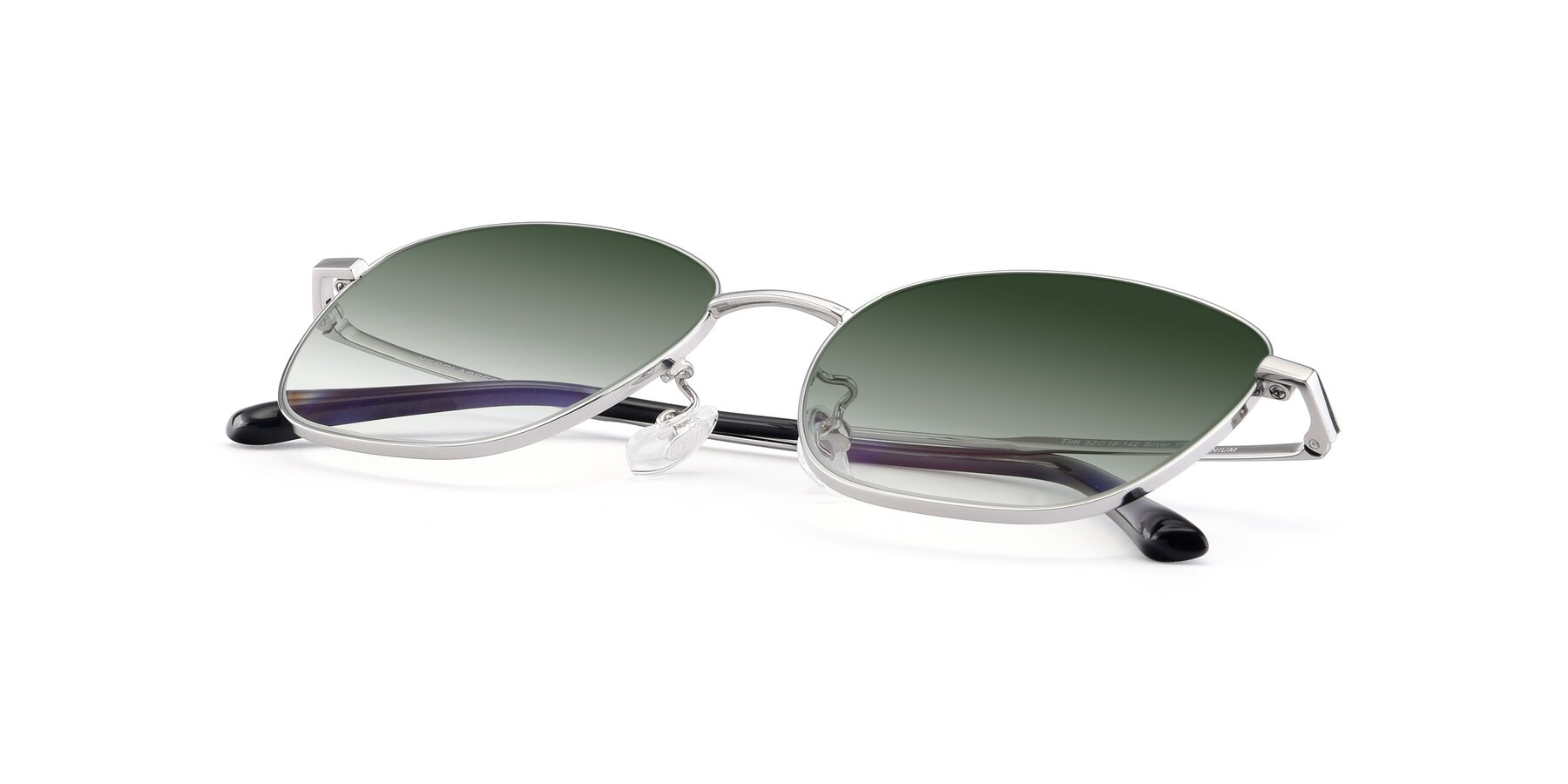 View of Tim in Silver with Green Gradient Lenses