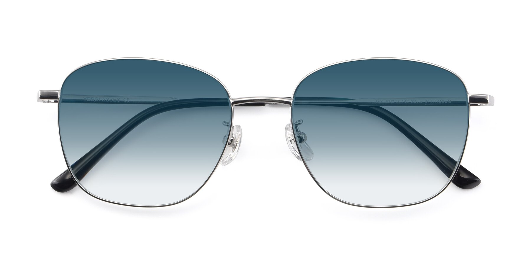 Folded Front of Tim in Silver with Blue Gradient Lenses