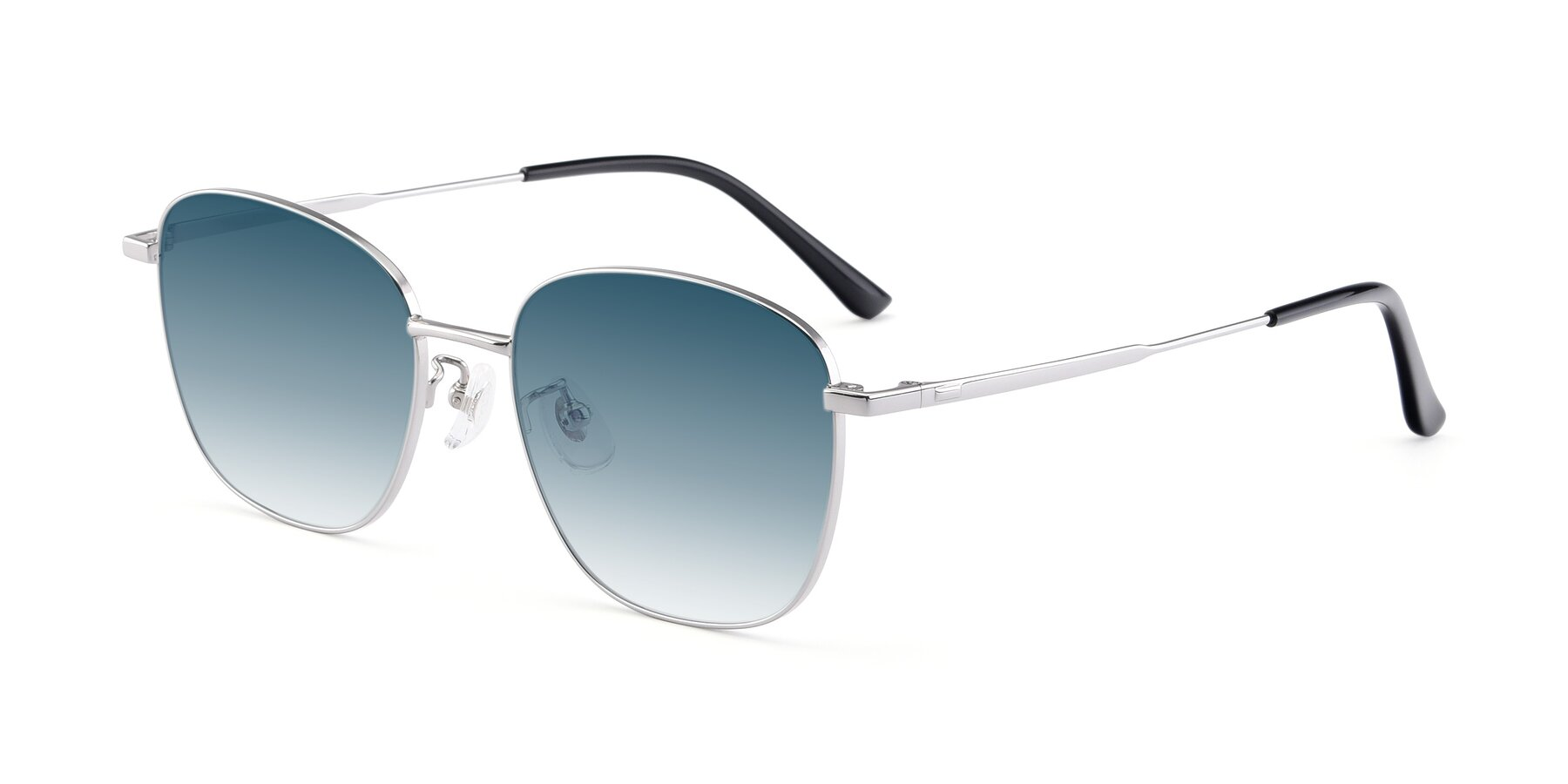 Angle of Tim in Silver with Blue Gradient Lenses