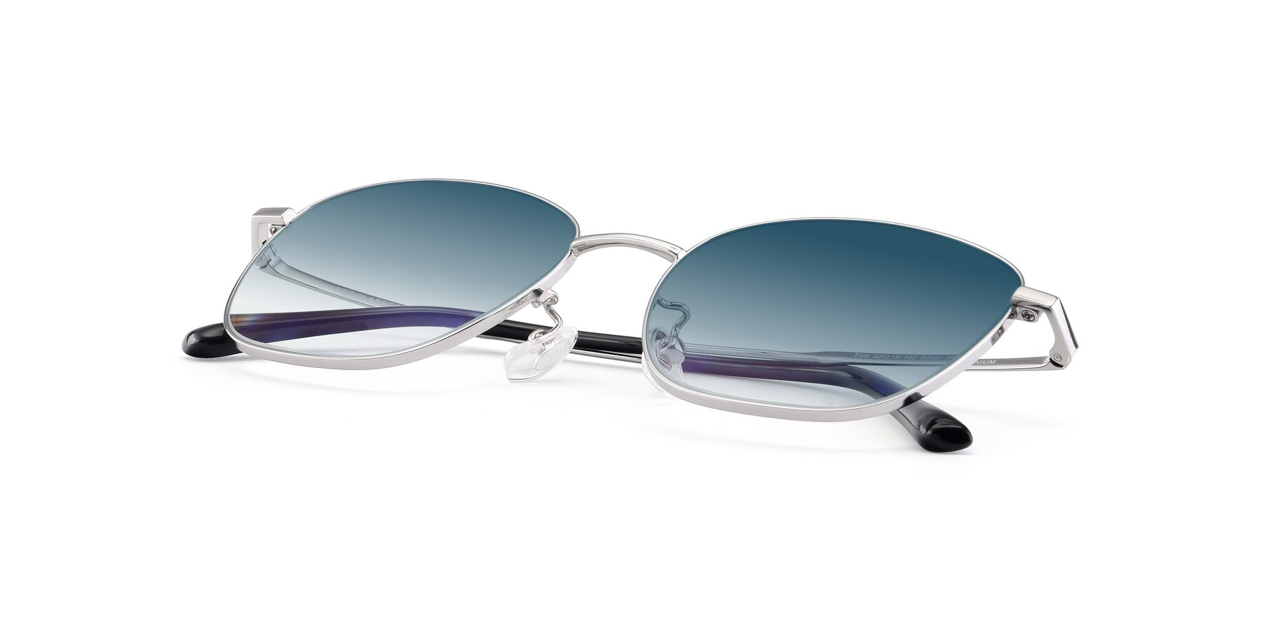 View of Tim in Silver with Blue Gradient Lenses