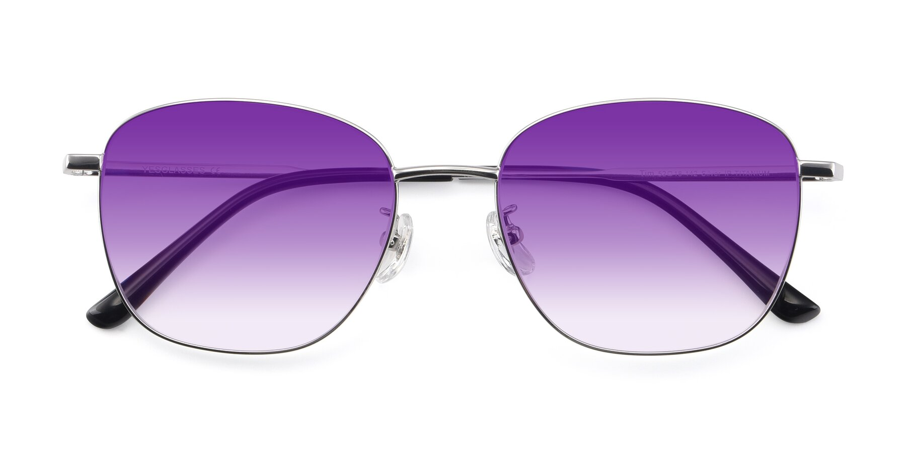 Folded Front of Tim in Silver with Purple Gradient Lenses