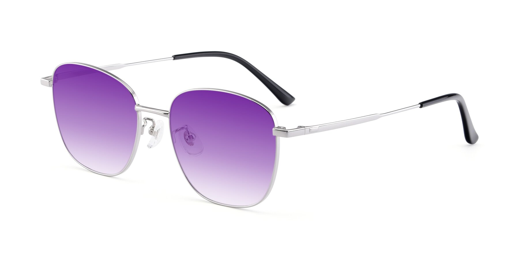 Angle of Tim in Silver with Purple Gradient Lenses