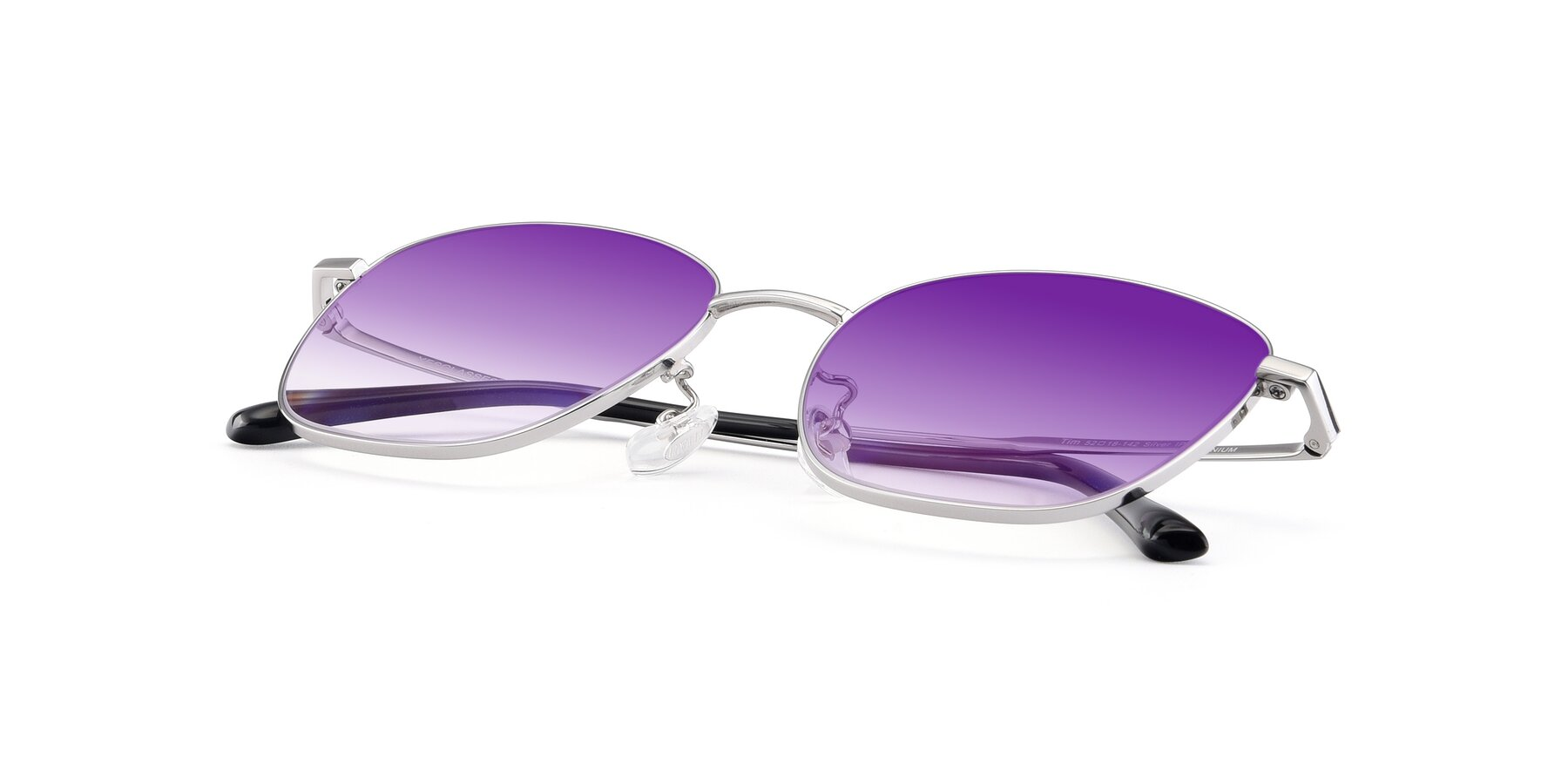 View of Tim in Silver with Purple Gradient Lenses
