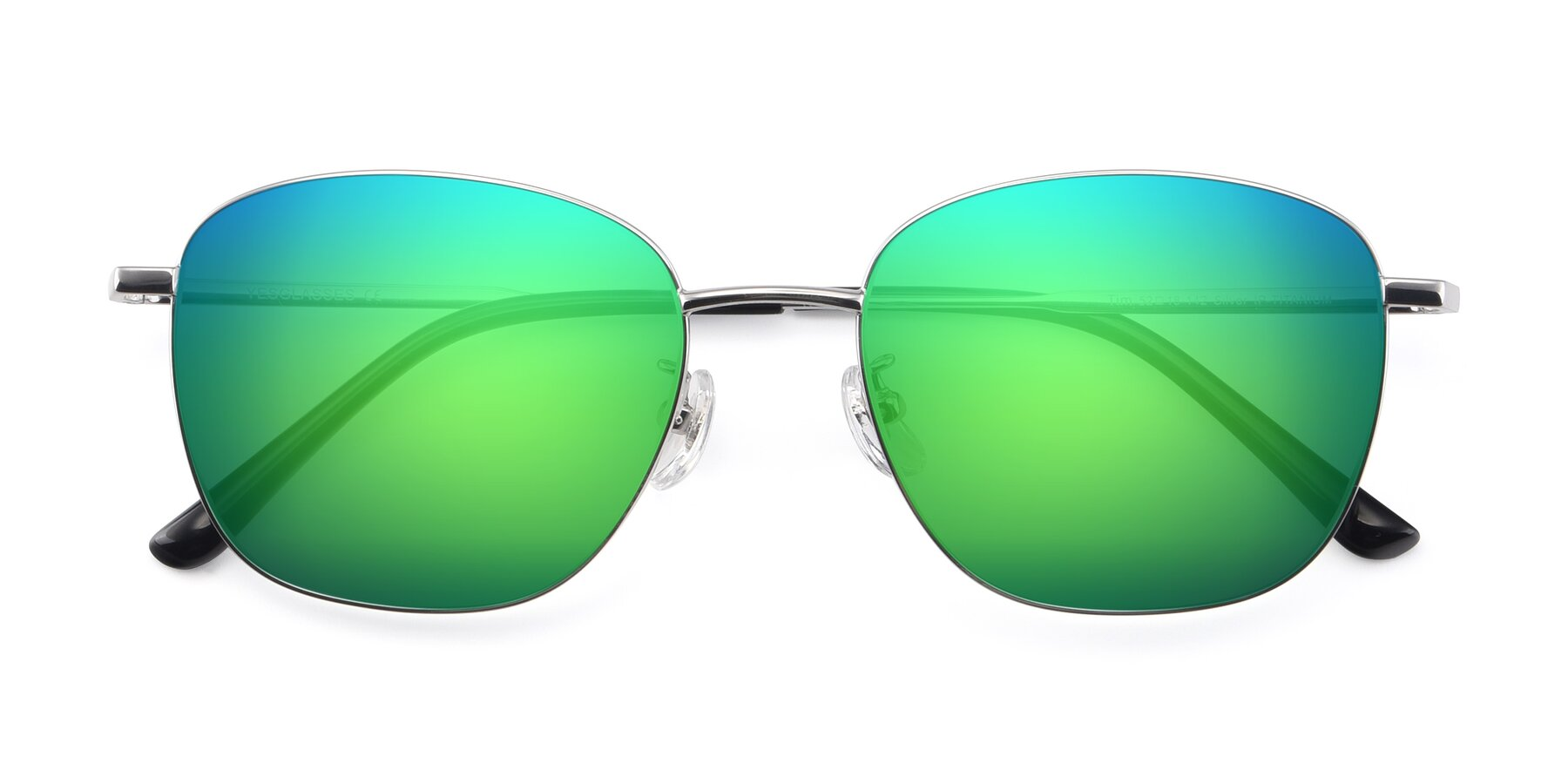 Folded Front of Tim in Silver with Green Mirrored Lenses
