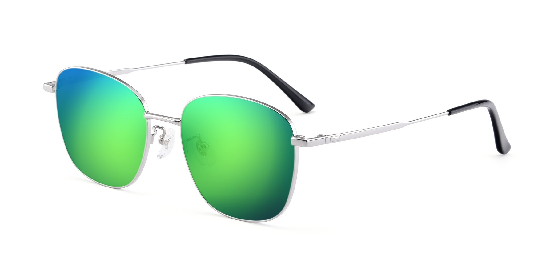 Angle of Tim in Silver with Green Mirrored Lenses