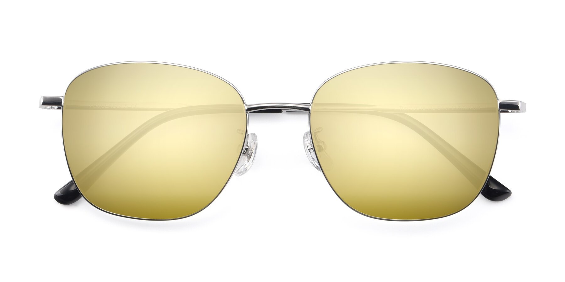 Folded Front of Tim in Silver with Gold Mirrored Lenses