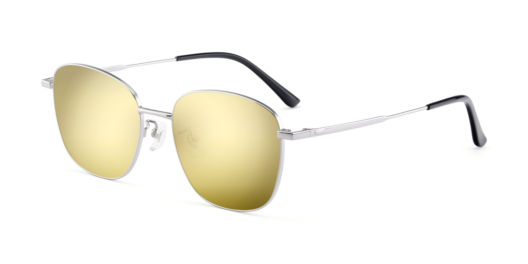 Angle of Tim in Silver with Gold Mirrored Lenses