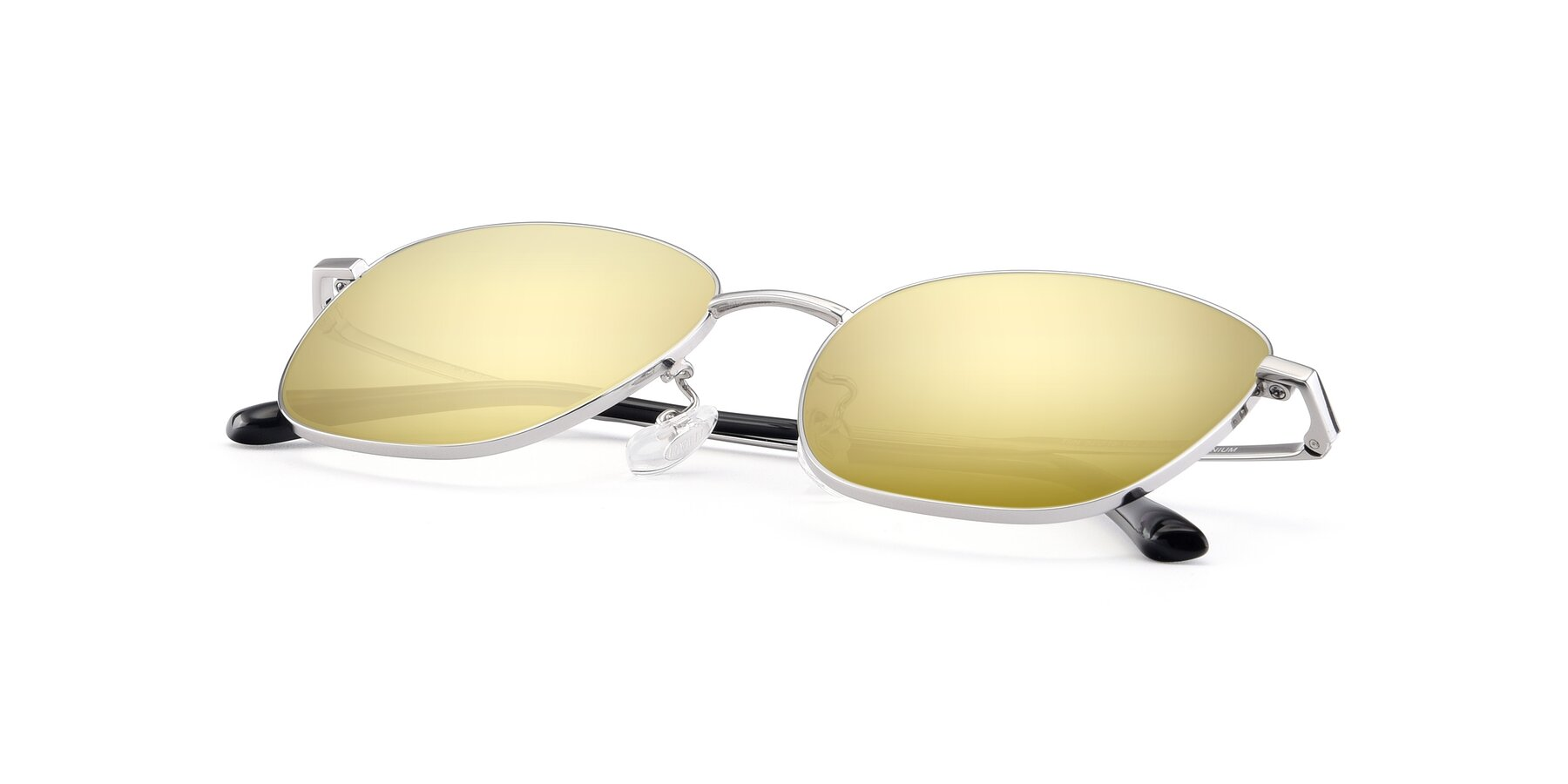 View of Tim in Silver with Gold Mirrored Lenses