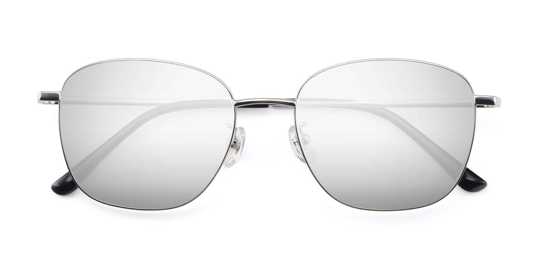 Folded Front of Tim in Silver with Silver Mirrored Lenses