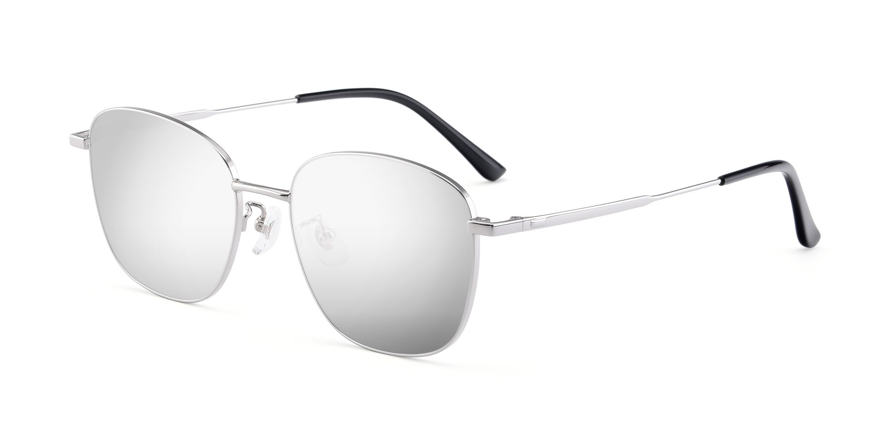 Angle of Tim in Silver with Silver Mirrored Lenses