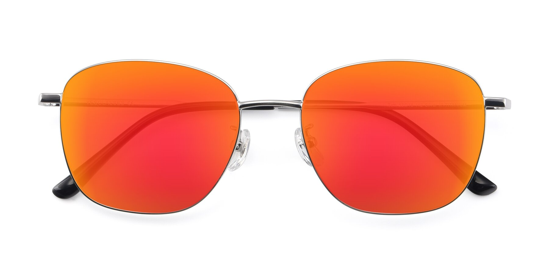 Folded Front of Tim in Silver with Red Gold Mirrored Lenses