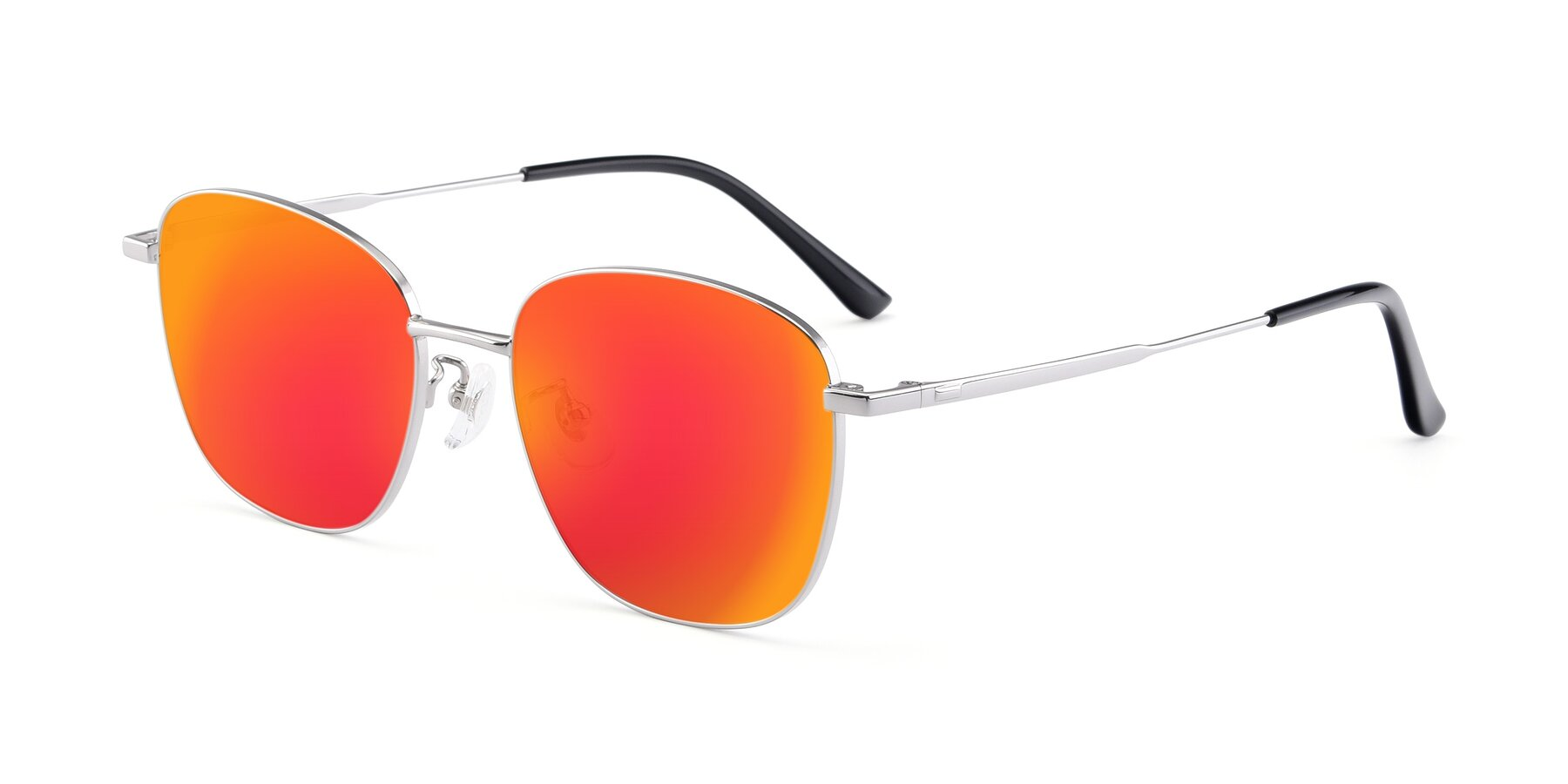 Angle of Tim in Silver with Red Gold Mirrored Lenses