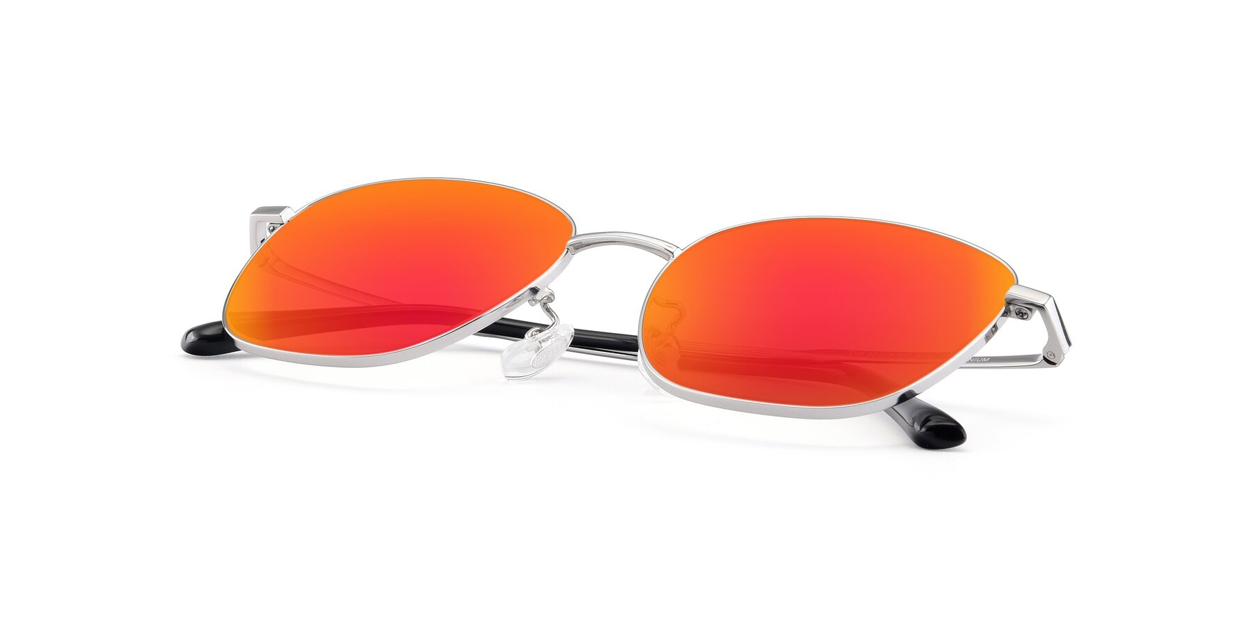 View of Tim in Silver with Red Gold Mirrored Lenses