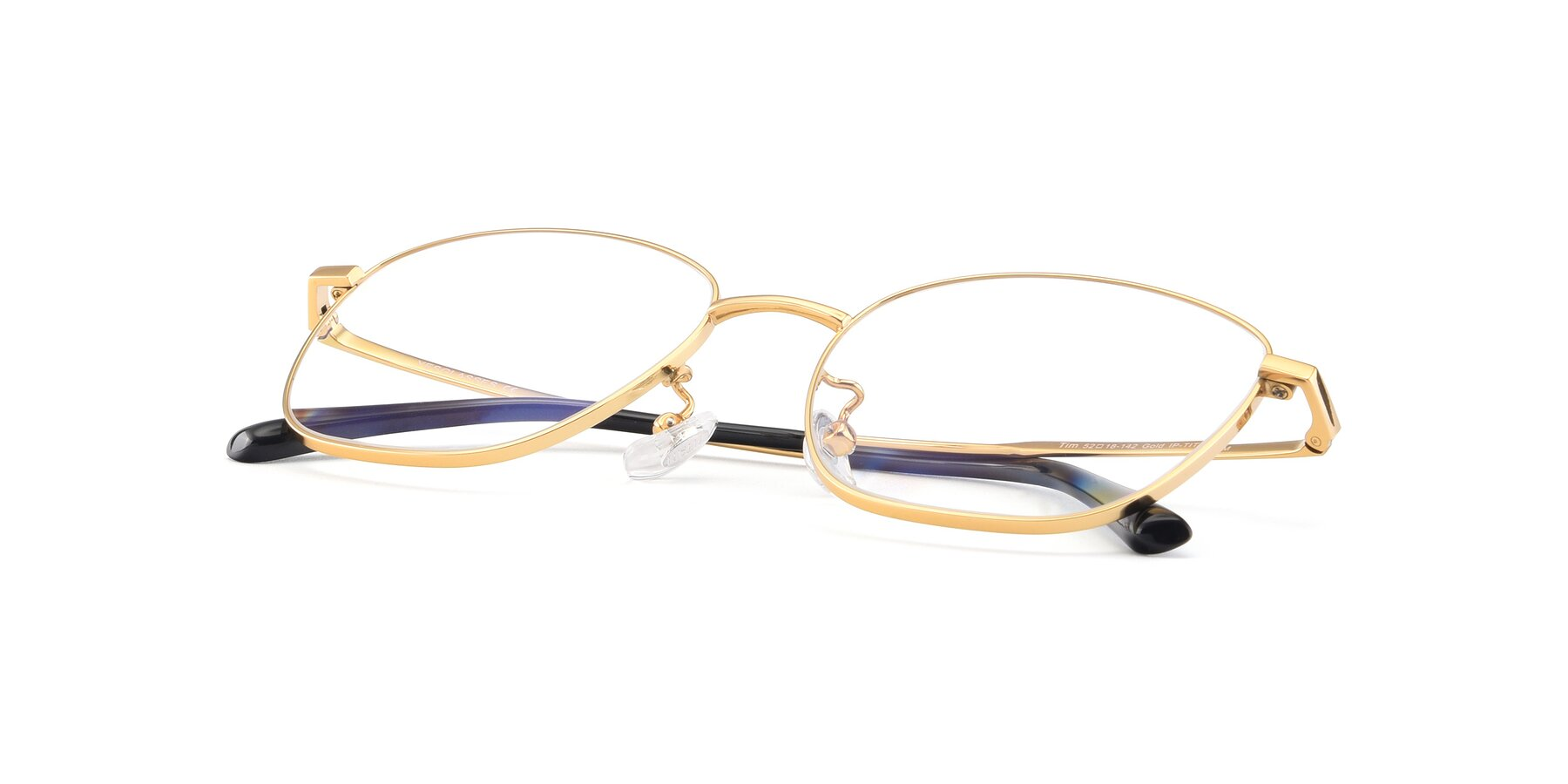View of Tim in Gold with Clear Eyeglass Lenses