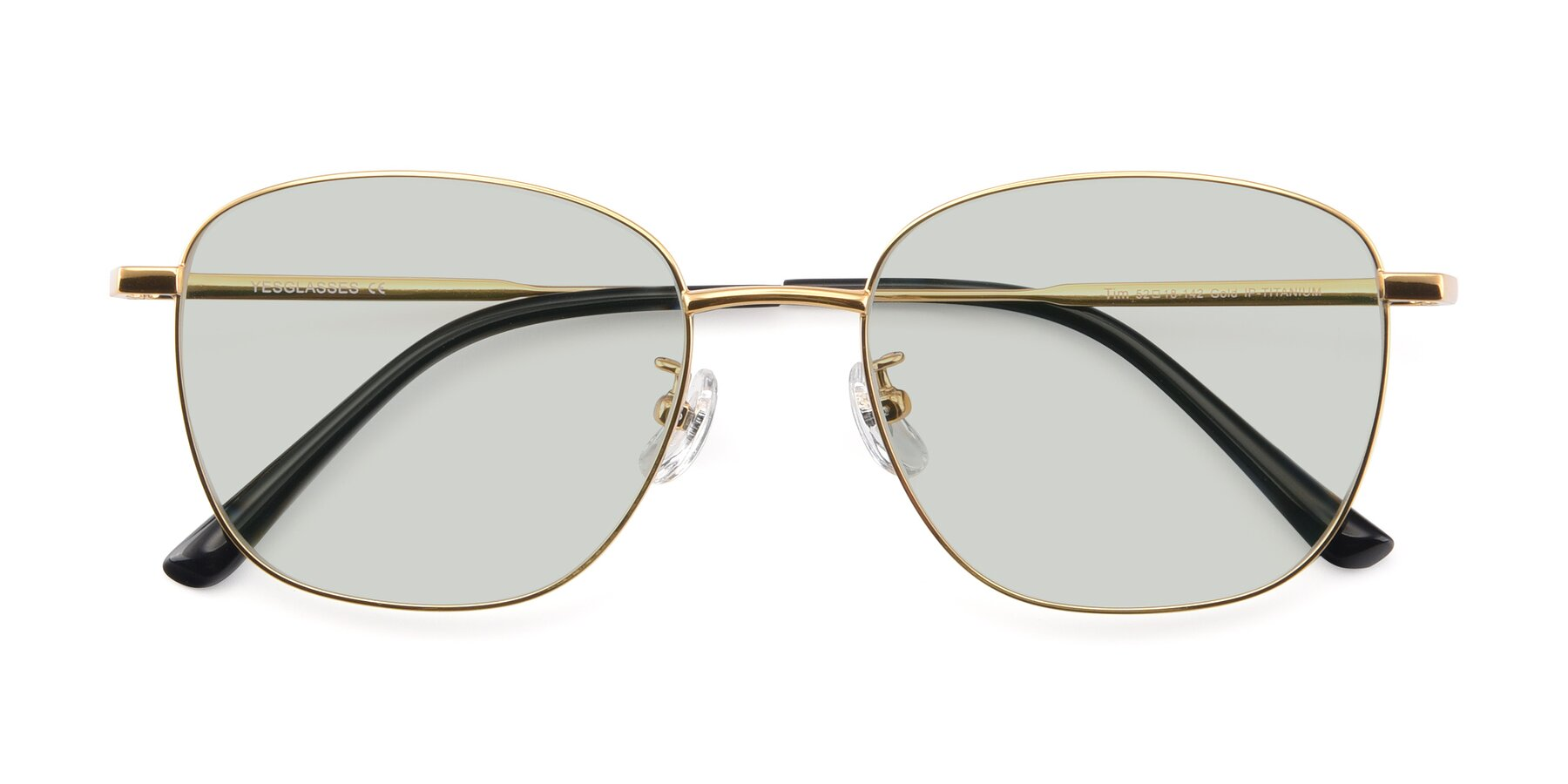 Folded Front of Tim in Gold with Light Green Tinted Lenses