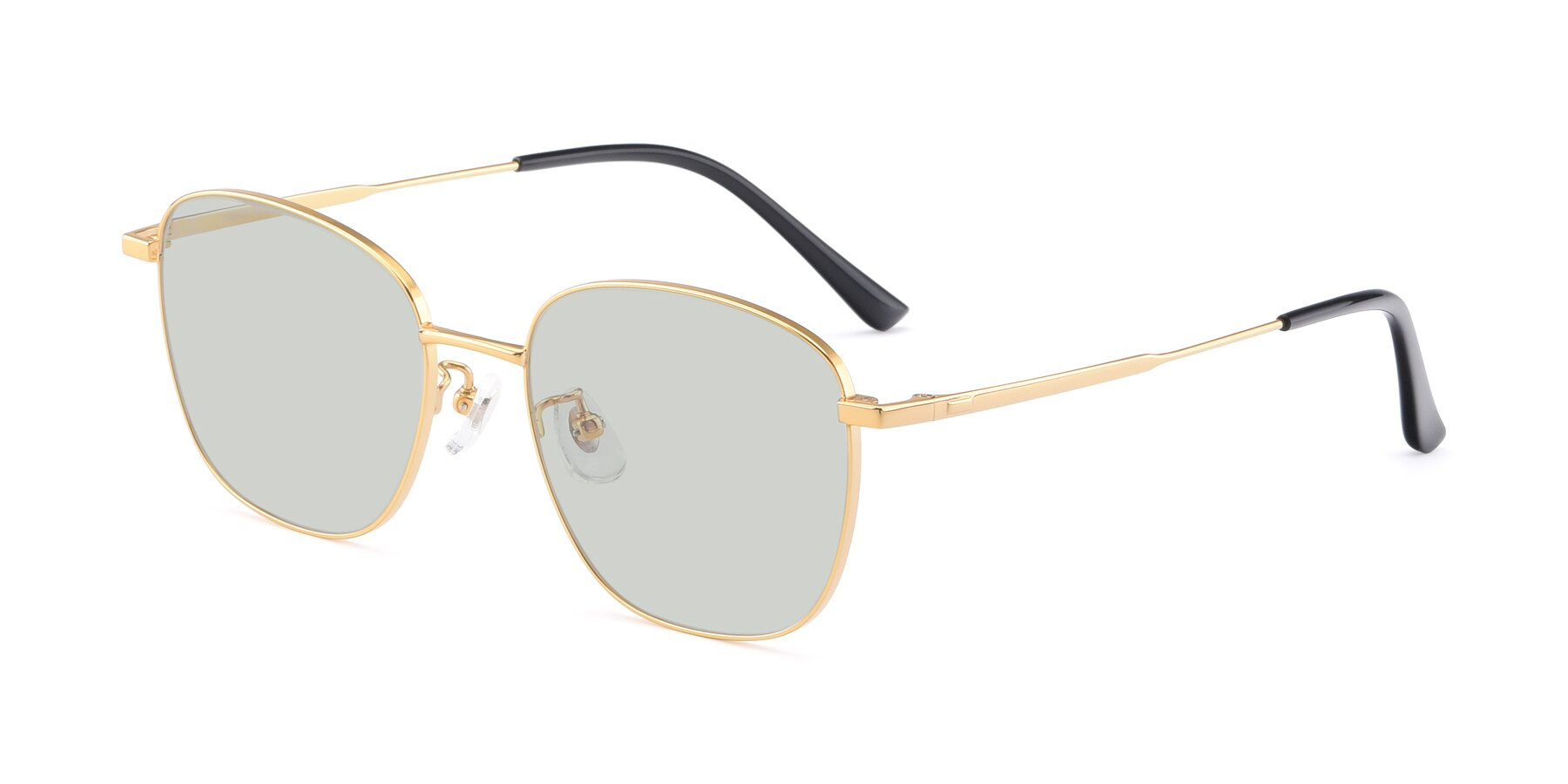 Angle of Tim in Gold with Light Green Tinted Lenses